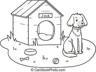 sien, contour, chien, dessin animé, amical, kennel., dessin