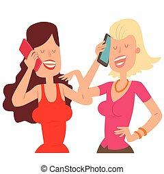 sien, conversation, caractère, deux, illustration, téléphone portable, vecteur, amis fille