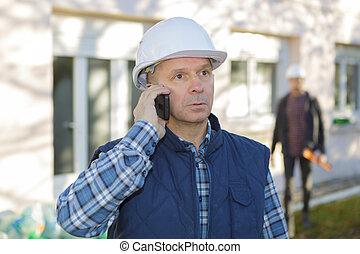 sien, conversation, mobile, constructeur, téléphone, hardhat