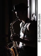 sien, coup, soul., saxophone, musique, blanc, homme, jouer, noir