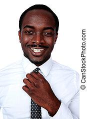 sien, cravate, ajustement, fond, africaine, blanc, homme, sur, heureux