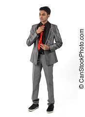 sien, cravate, ajustement, jeune, indien, homme