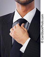 sien, cravate, ajustement, ouvrier, col blanc