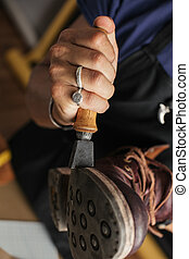 sien, cuir, haut, bottes, atelier, chaussure, mains, fin, produire, fabricant
