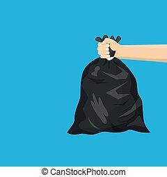 sien, déchets ménagers, sac main, noir, tenue, plastique, homme