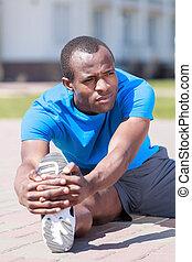 sien, descente, africaine, hommes, exercisme, jeune, dehors, exercices, jogging., avant