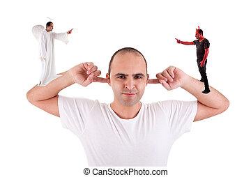 sien, diable, discussion, doigts, oreilles, ange, tenue, entre, pas, blanc, écoute, homme
