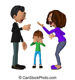 sien, discuter, triste, parents, enfant, audition, 3d