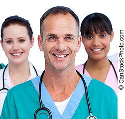 sien, docteur, équipe soignant, portrait, mâle