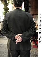 sien, doigts, dos, derrière, traversé, homme affaires, liar: