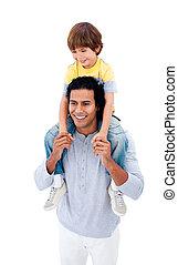 sien, donner, cavalcade, père, fils, ferroutage, joyeux