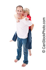 sien, donner, cavalcade, père, fils, ferroutage, sourire