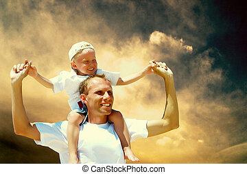 sien, donner, ciel, cavalcade, père, contre, fils, ferroutage, fond, joyeux
