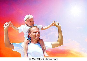 sien, donner, ciel, cavalcade, père, contre, fils, ferroutage, joyeux
