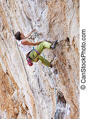 sien, faire, jeune, haut, manière, rocher, lutter, alpiniste mâle