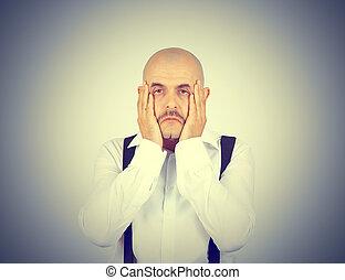 sien, fatigué, face., tenant mains, frustré, homme