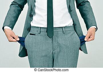 sien, fauché, projection, poches, homme affaires, vide