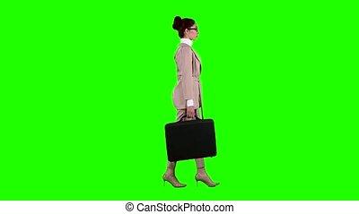 sien, femme affaires, flirter, screen., glasses., vert, mains, cas, corriger, vue côté