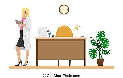 sien, femme, manteau, illustration., docteur, bureau., monde médical, main, desk., vecteur, docteur, blanc, dossier