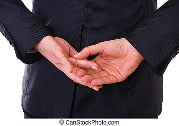 sien, fermé, business, prendre, ring., mariage, homme