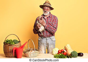 sien, ferme, légumes, marché, paysan, frais, personne agee, oeufs, came