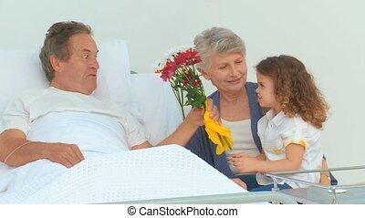 sien, fille, grand-père, malade, grandiose, jouer