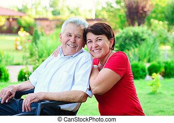sien, fille, père, 50, années, portrait, vieux, heureux
