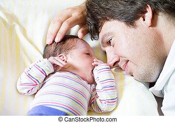 sien, fille, père, jeune, étreindre, nouveau né