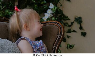sien, fille, père, jeune, bébé, togerher, jouer, heureux