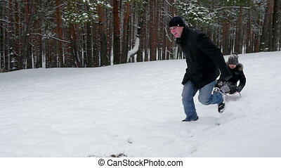 sien, fille, traction, père, 96fps, sled.