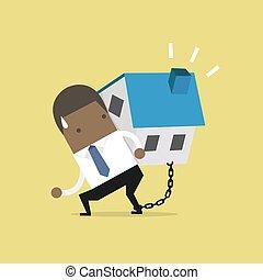 sien, financier, enchaîné, maison, concept., africaine, porter, homme affaires, dette, ankle.