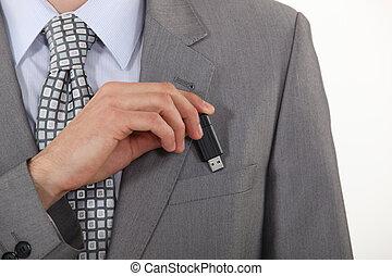sien, flash, conduire, poche, mettre, homme affaires