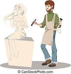 sien, fonctionnement, jeune, sculpture., sculpteur, homme