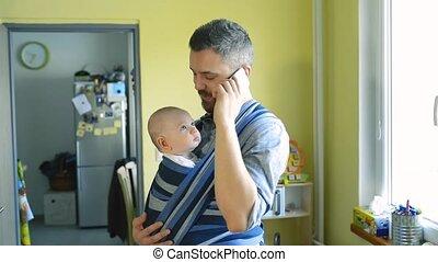 sien, fronde, père, jeune, fils, téléphone, intelligent