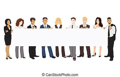 sien, gens, illustration, vecteur, tenue, bannière, hands.