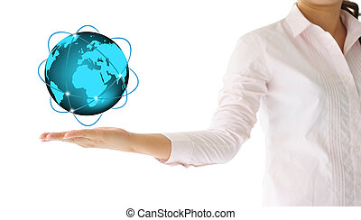sien, globe, main, incandescent, tenue, la terre
