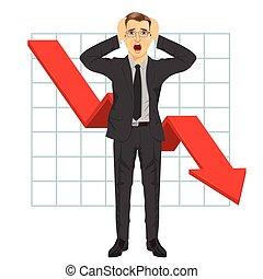 sien, grabbed, business, graph., trend., bas, arrow., head., financier, tomber, crise, rouges, homme