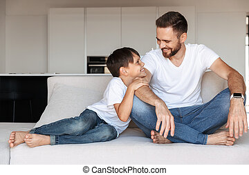 sien, h, père, jeune, fils, portrait, heureux
