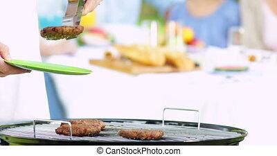 sien, hamburgers, père, famille, servir