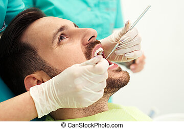 sien, haut, dentiste, examiné, dents, fin, avoir, homme