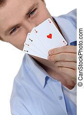 sien, haut, jeune, jeu, tenue, cartes, pendant, homme