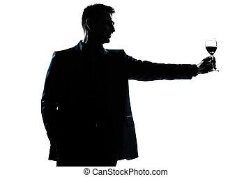 sien, haut, verre, levée, homme, grillage, vin rouge