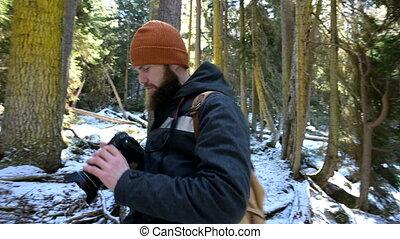 sien, hiver, prend, barbu, bloggers, appareil photo, voyage,...