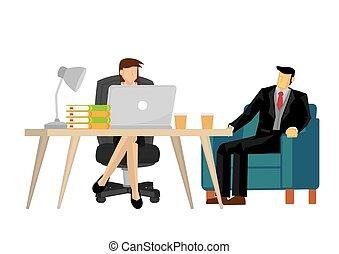 sien, homme affaires, conversation, secretary.