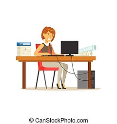 sien, informatique, bureau, fonctionnement, femme affaires, ordinateur portable, complet, caractère, illustration, vecteur, bureau, sourire