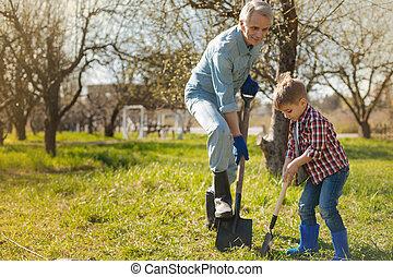 sien, jardin, petit-fils, agréable, creuser, vieilli, homme