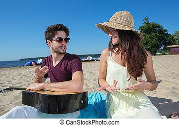 sien, jeune, guitare, petite amie, plage, homme