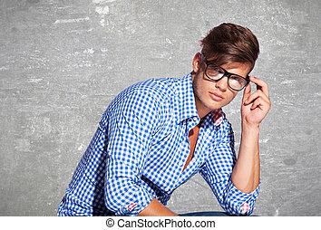 sien, jeune, mode, tenue, homme, lunettes