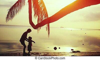 sien, jeux, mouvement, arbre, jeune, contre, père, surprenant, lent, paume, fond, fille, heureux, 1920x1080, sunset.