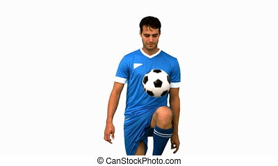sien, jonglerie, football, homme, genou